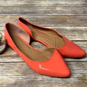 Lane Bryant Coral Faux Patent Leather Dorsay Flats